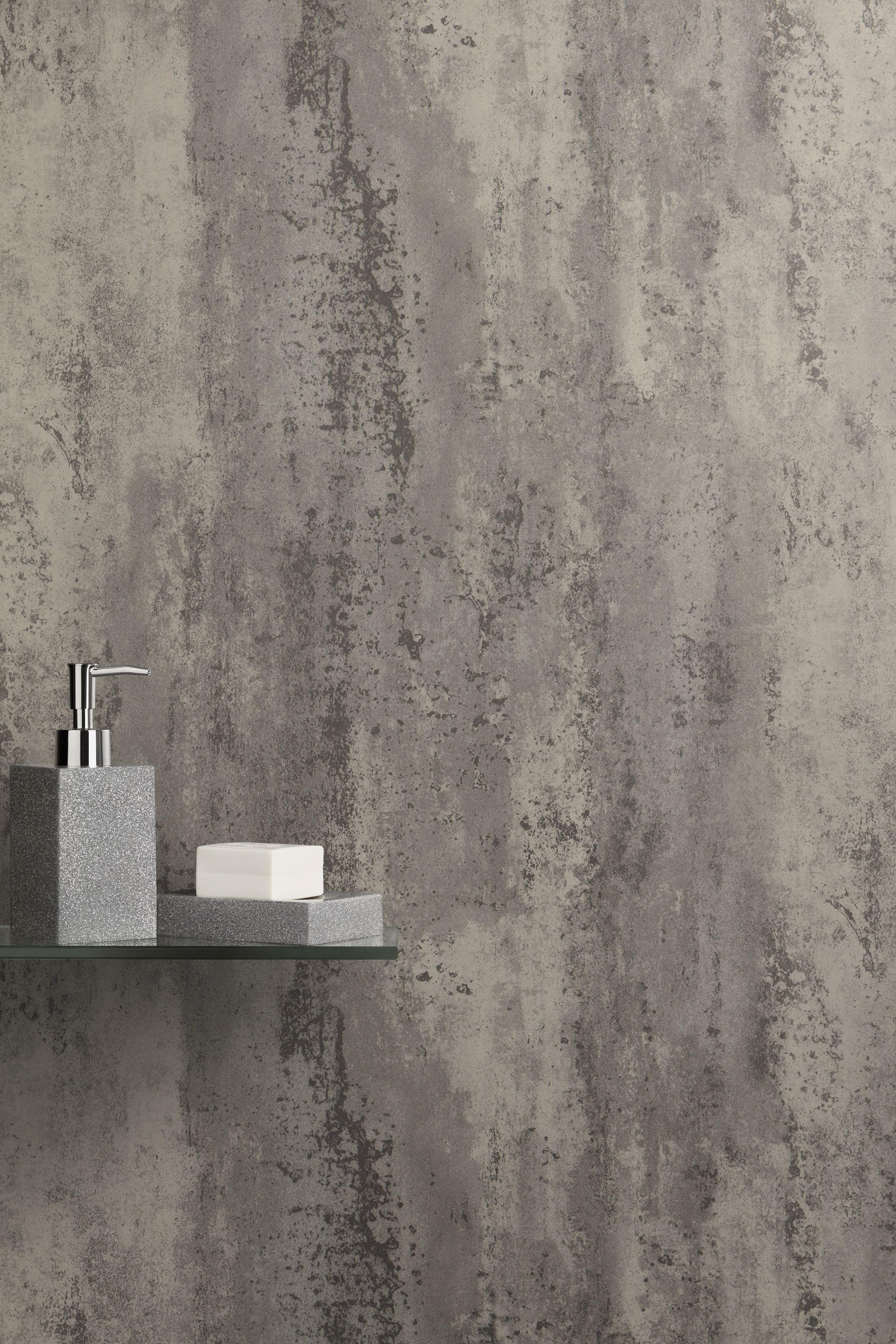 ancona grey retro metallic pvc shower wall panel
