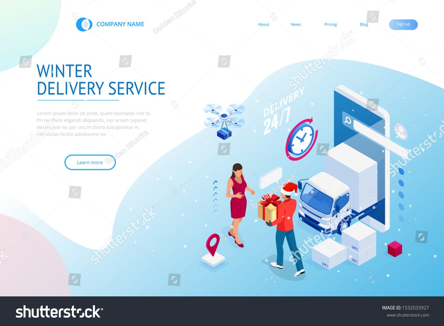 Isometric Christmas online shopping and winter sale web banner concept Delivery man with winter gift box Merry Christmas and Happy Holidays