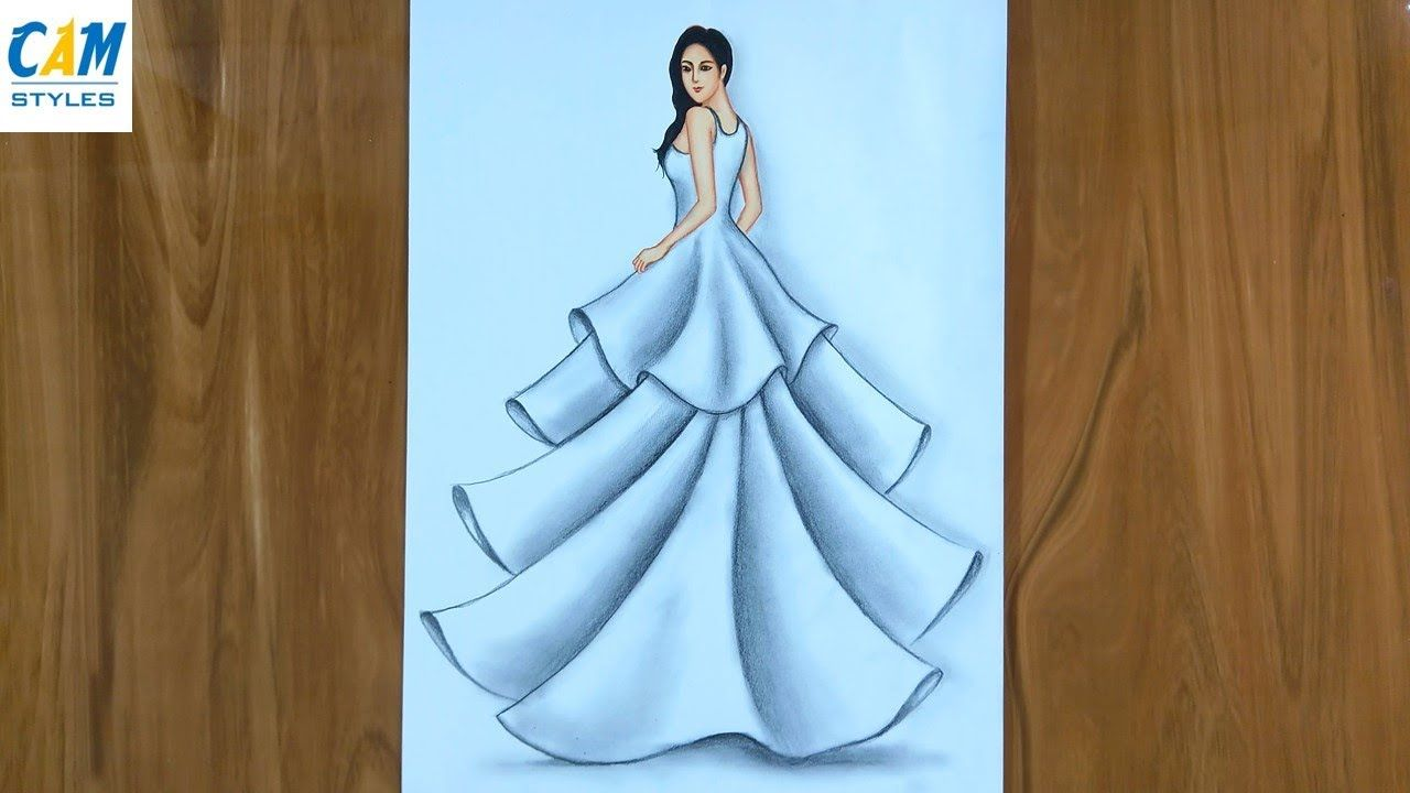How To Draw A Beautiful Girl In A Dress Simple Dresses Drawings Easy Dress Drawing Easy Easy Drawings For Beginners Easy Drawings