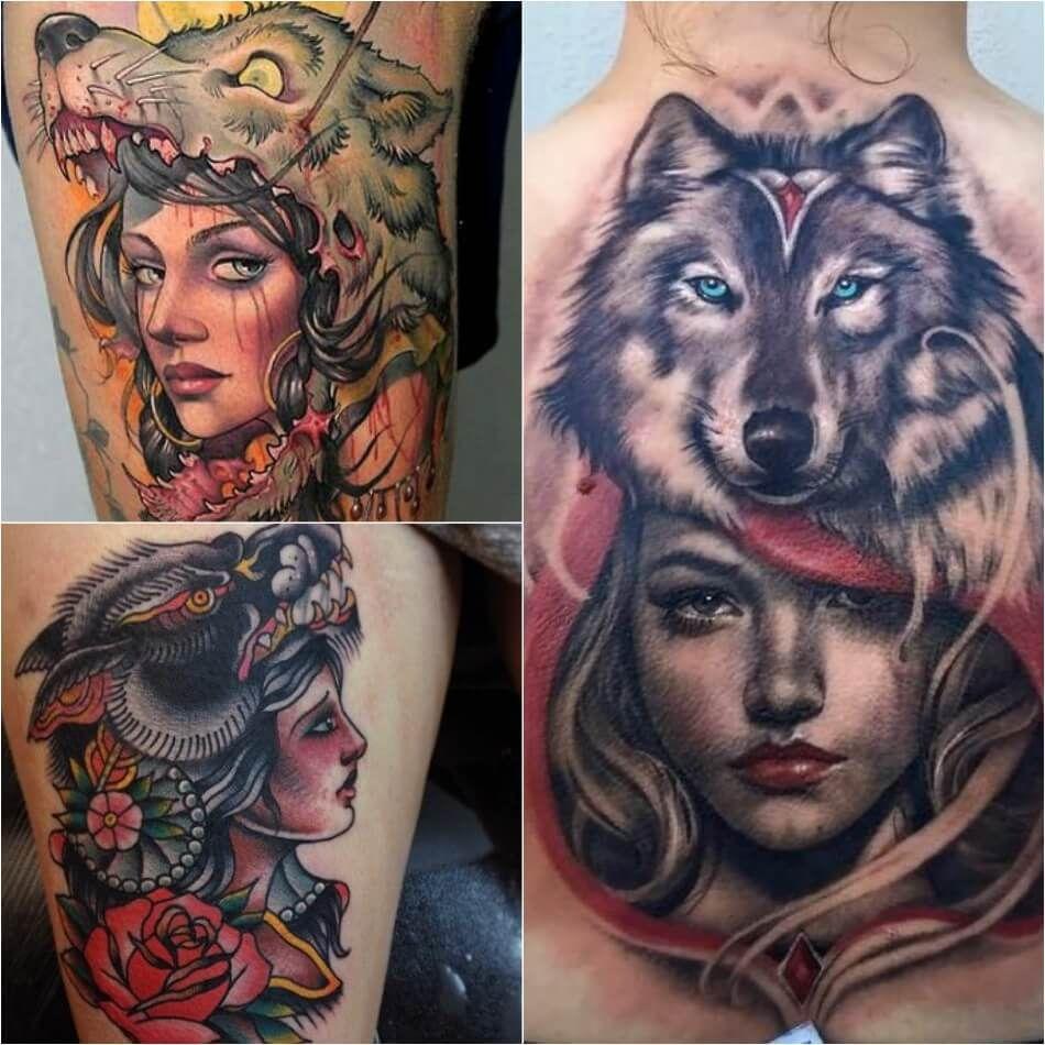 Татуировки волков для девушек