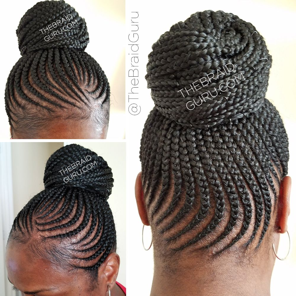 Feed In Cornrows In A Bun Braids By Thebraidguru Com Cornrow Ponytail Cornrow Updo Hairstyles Braided Hairstyles