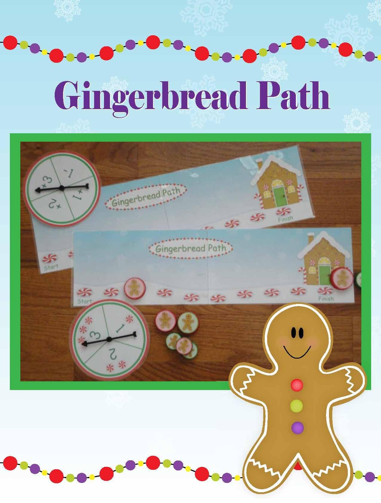 Gingerbread Path Math game for preschool, prek Prek