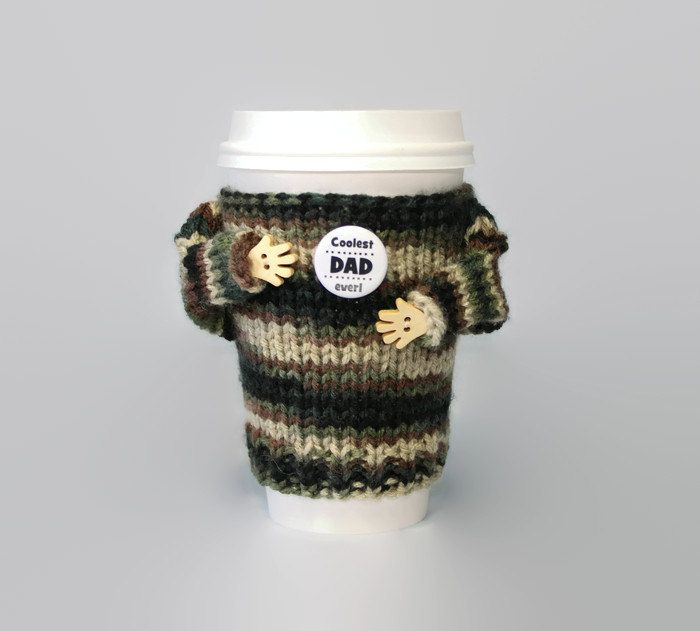 Army dad gift. Father\'s Day coffee cozy. Military cup sleeve. Travel ...