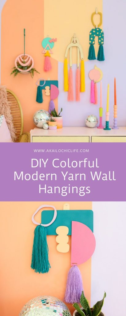 DIY Colorful Modern Yarn Wall Hangings is part of Yarn wall hanging, Diy wall hanging yarn, Wall hanging diy, Macrame wall hanging diy, Macrame wall hanging patterns, Macrame wall hanging tutorial - Use these laser cut wood craft kits to make your own DIY Colorful Modern Yarn Wall Hangings! All you need is paint and yarn to create these for your home