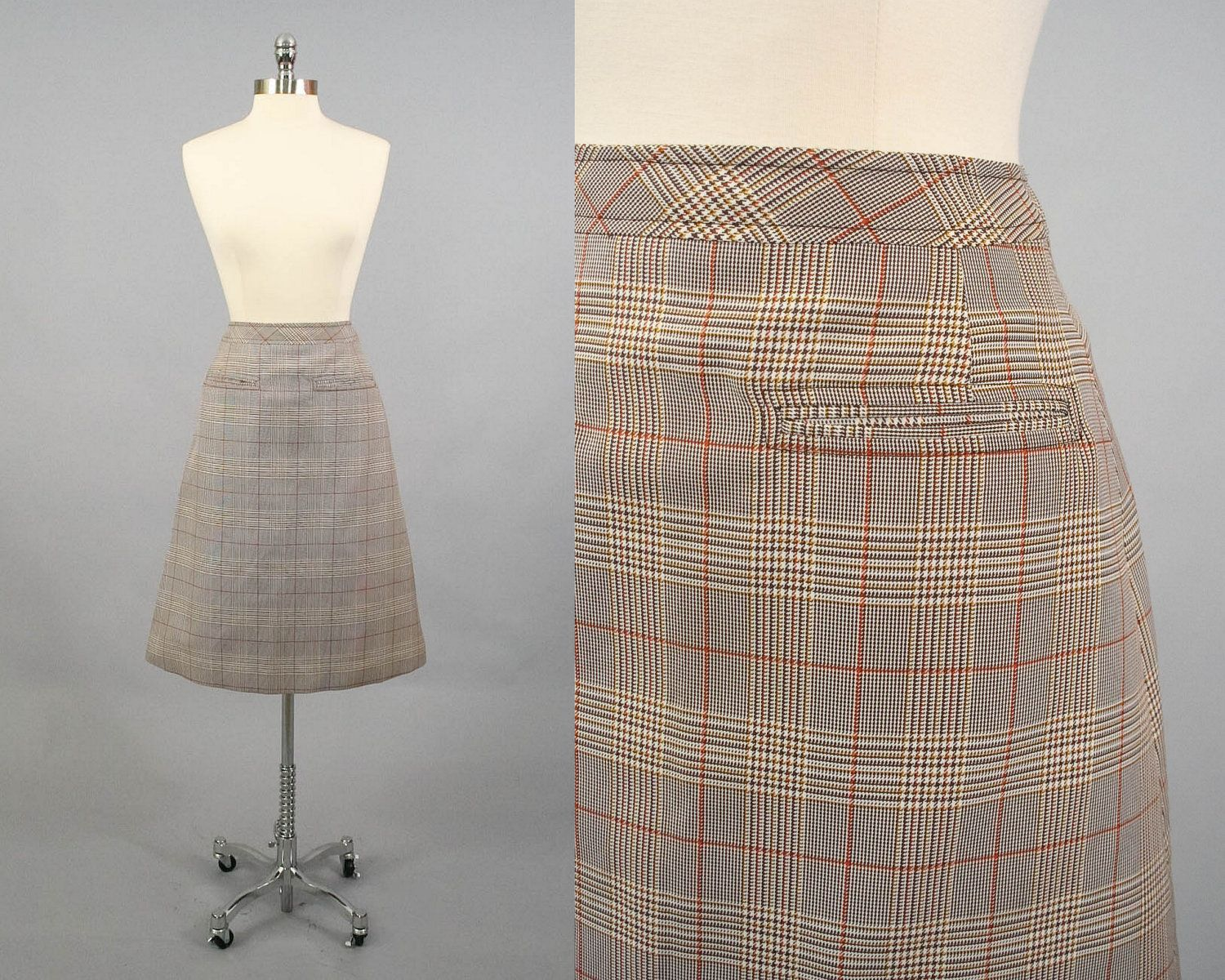 Vintage 60s 70s Houndstooth Plaid A Line High Waist Midi Skirt  (M). via Etsy.