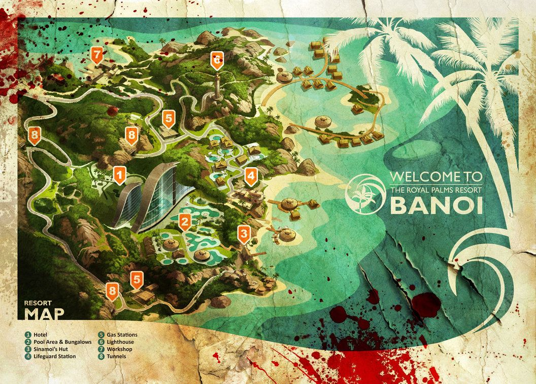 Banoi Beach tourist map created for the special edition of Dead Island. Dead Island - ©2011 Deep Silver
