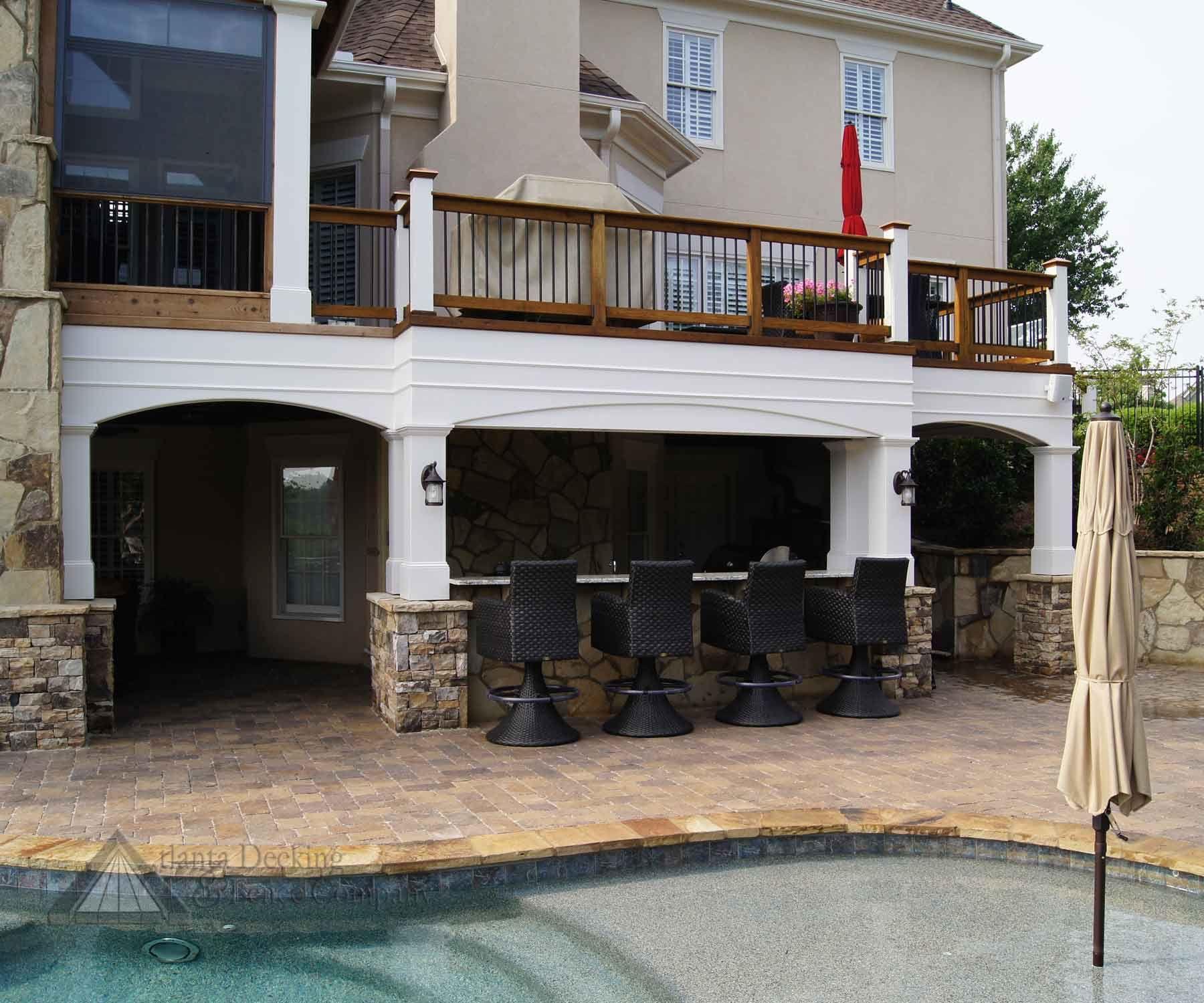 outdoor kitchen under deck decks backyard patio under decks building a deck on outdoor kitchen on deck id=67915