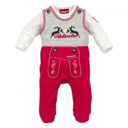 Baby Strampler ´Hirsch´ rot - Body Lederhose für Mädchen ...
