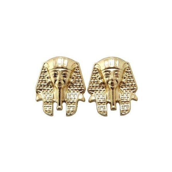 New Iced Out Gold Pharaoh Earrings XE1076G ($8.99) ❤ liked on Polyvore