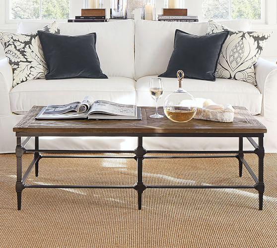 Oval Vs Rectangular Coffee Table: Parquet Reclaimed Wood Rectangular Coffee Table