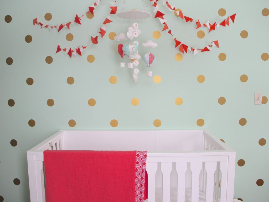 Mint Coral And Gold Nursery Gold Dots Wall Decals And Polka - Gold dot wall decals nursery