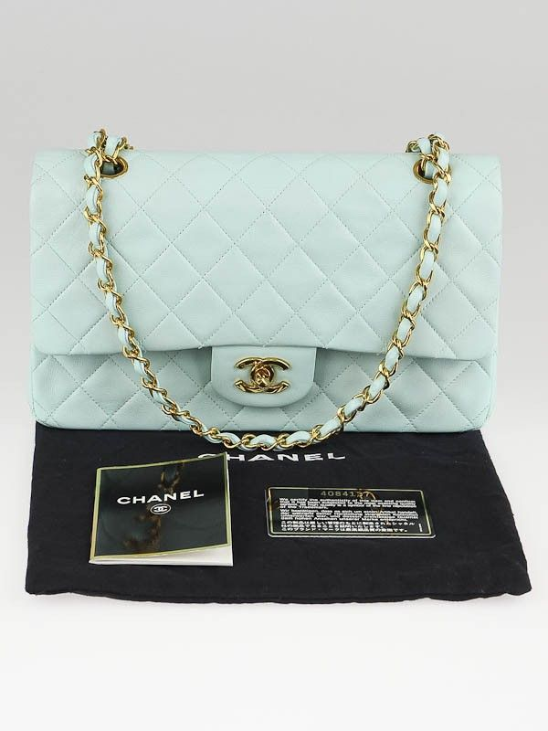 988de681fcfe14 Chanel Mint Green Quilted Lambskin Leather Medium Classic Double Flap Bag  SALE 3,000