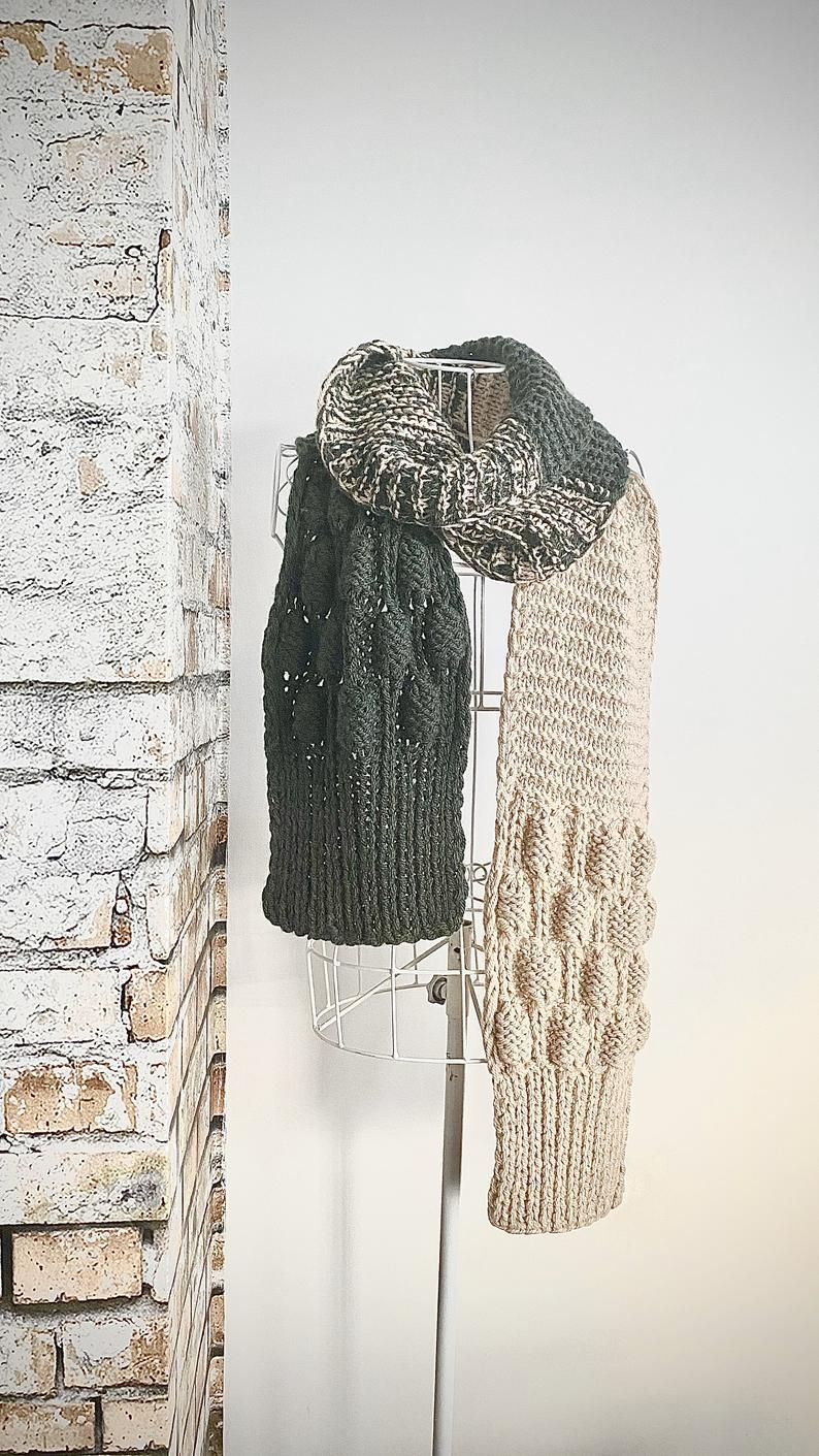 Photo of Hand Knitted scarf.Wool alpaca oversized hand knitted scarf.Christmas gift.Accesories.Long,chunky knitted wrap.Oversized wrap.Winter scarf