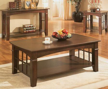cherry wood rooms | Cherry Finish Wood Coffee Table w/ Shelf