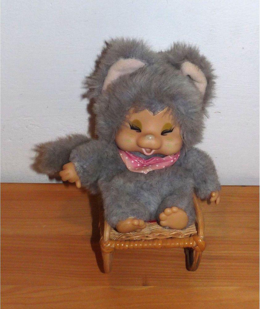 Nyamy Katze Grau Monchichi Mit Schaukelstuhl Stuhl 1979 Dolls