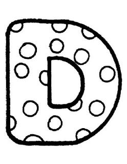 Alfabeto con lunares, para colorear o para usar como plantilla