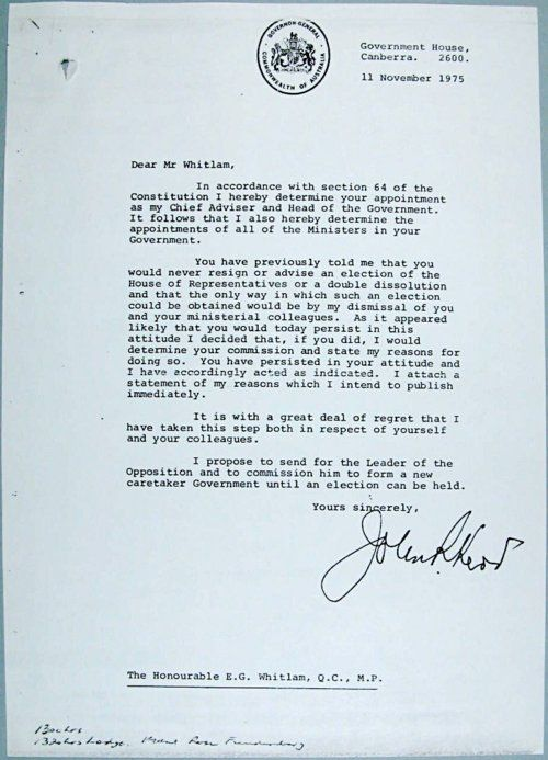 Jeuxdeau John KerrS Letter Of Dismissal To Gough Whitlam