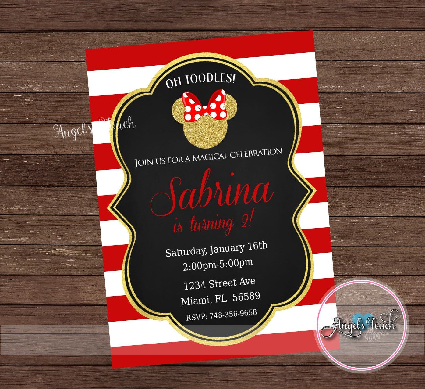 Minnie Mouse Party Invitation, Minnie Mouse Red and Gold Invitation ...