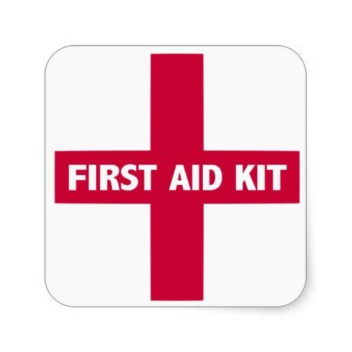 First Aid Kit Sign Square Sticker Zazzle Com First Aid Kit First Aid For Kids Aid Kit