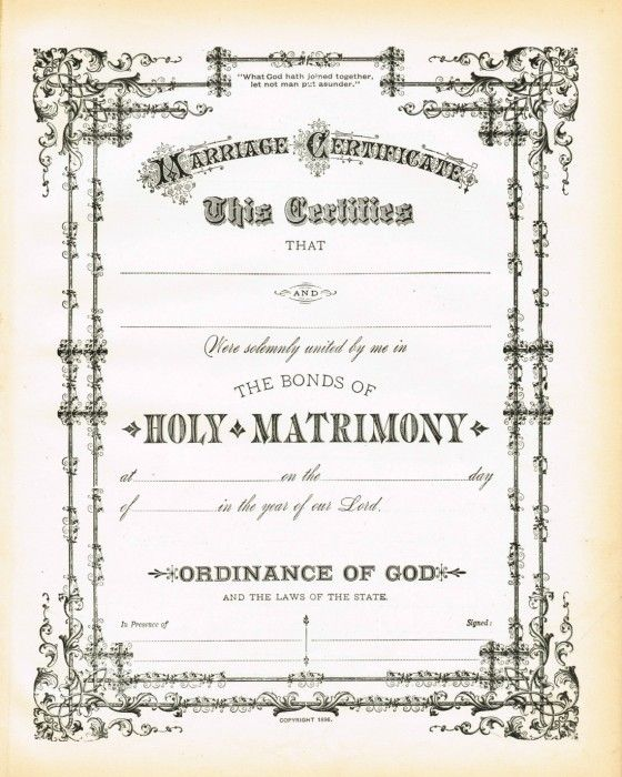 Antique Certificate Of Marriage Printable Via KnickoftimeNet