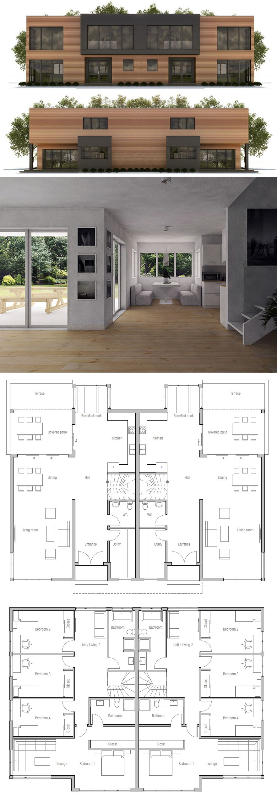 Duplex House Plan Ch395d Duplex House Plans House Plans House Architecture Design