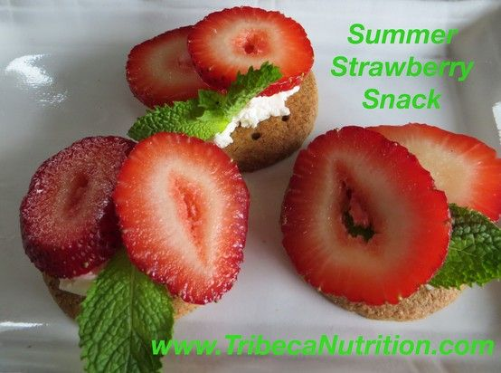 Perfect summer snack: Strawberries on ww cracker with cream cheese. Yum!