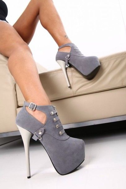 Shoes: sexy, grey, high heels, boots, heel boots, low boots, pumps ... 17