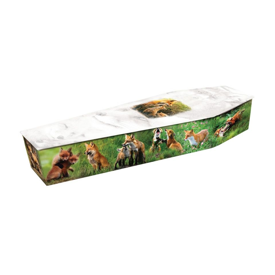 Foxes. Visit our website to browse our other picture coffin designs.