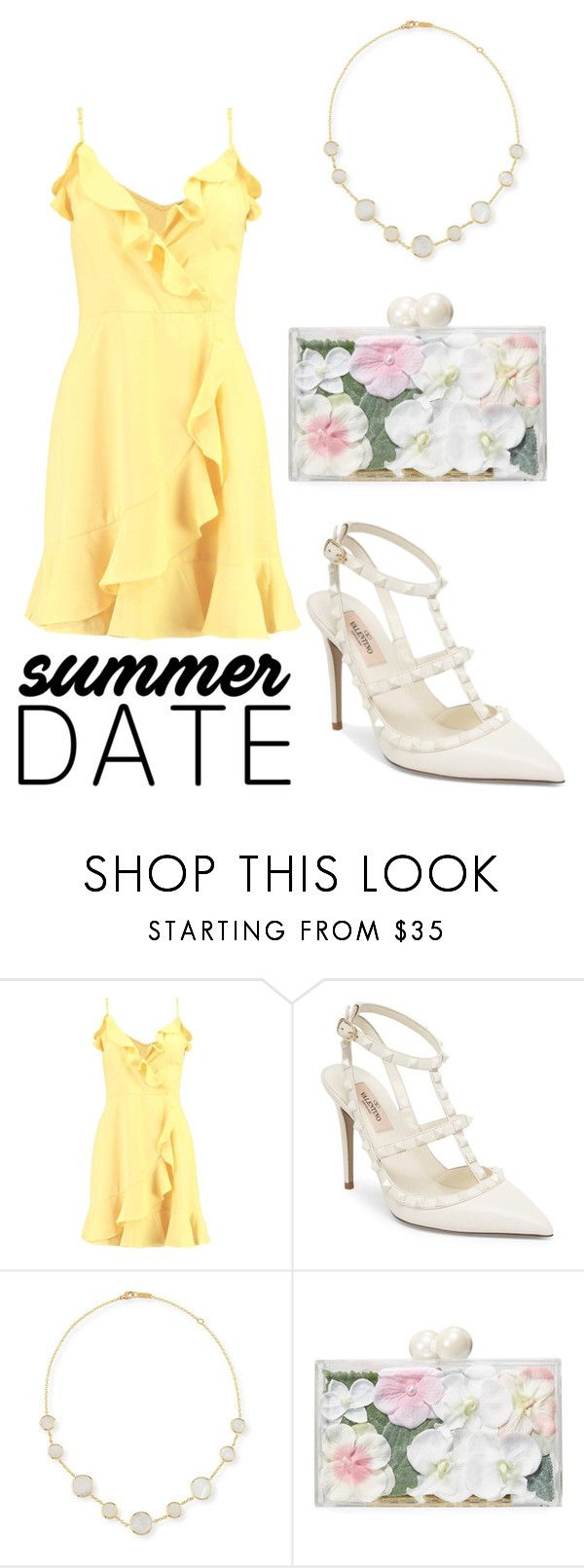 """""""Summertime date Night"""" by fashion-freaks ❤ liked on Polyvore featuring Boohoo, Valentino, Ippolita, Ashlyn'd, summerstyle, summerdress, yellowdress and summerdatenight"""