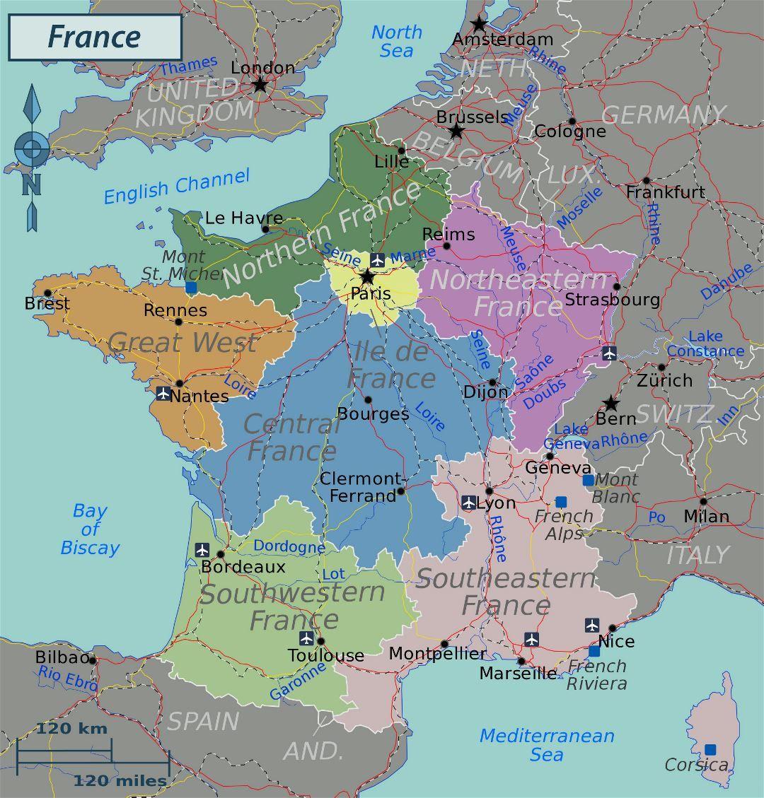 Francia Grandes Regiones Mapa Grandes Regiones Mapa Tarjeta De