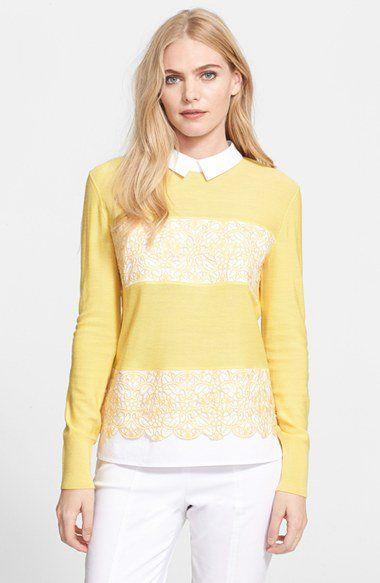 Tory Burch 'Edwina' Embroidered Panel Merino Wool Collared Sweater | Nordstrom via @corporette