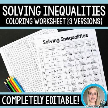Solving Inequalities Coloring Worksheet Editable