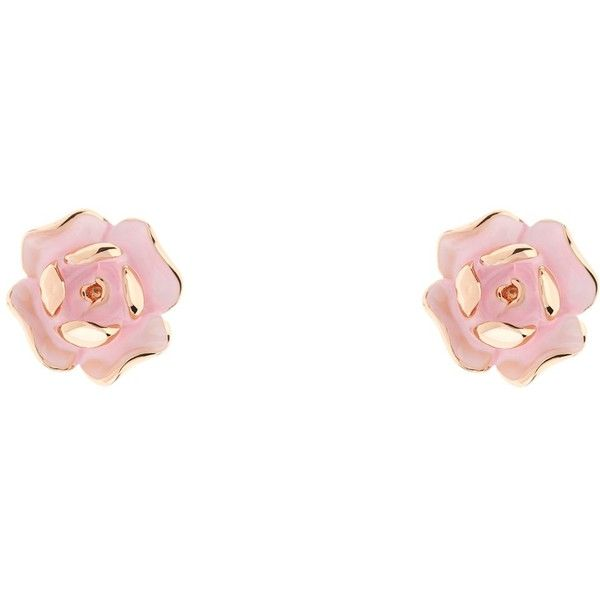 Ted Baker Esmea Enamel Rose Stud Earrings , Rose Gold/Pink (€33) ❤ liked on Polyvore featuring jewelry, earrings, rose gold stud earrings, rose earrings, enamel pendant, rose gold earrings and pink gold jewelry
