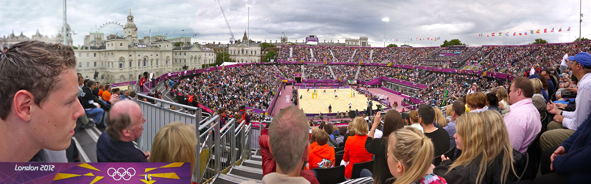 London 2012, at the Olympics beach volleyball court with son Jurr (l). Huge stadium, seems even bigger after panoraming it in Photoshop.