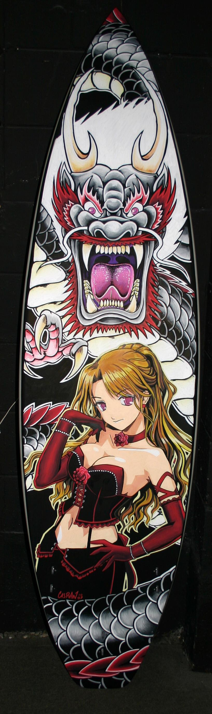 An anime piece from 2010 posca on surfboard art cool
