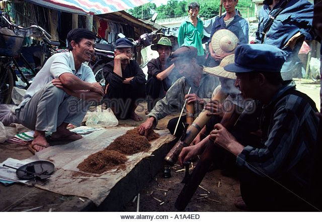 Smoking North West Vietnam South East Asia - Stock Image