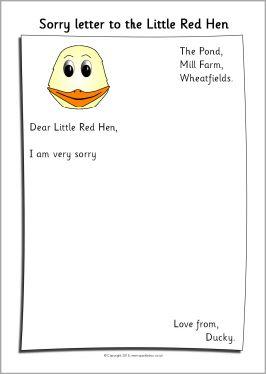 Little Red Hen sorry letter writing frames (SB3149) - SparkleBox ...