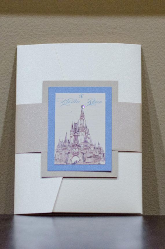 cinderellthemed wedding scroll invitations%0A Cinderella u    s castle wedding invitation by PinkAppleInk on Etsy