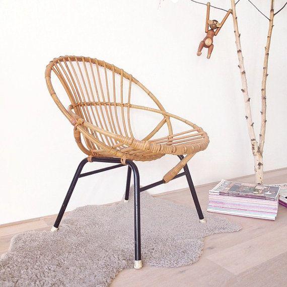 Vintage Basket Chair Kinder Lounge Sessel 60er Jahre Von Leflair