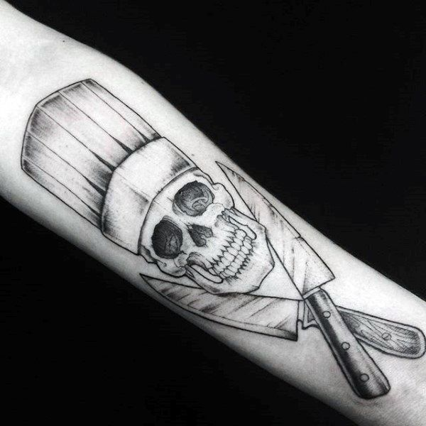 cool chef knife skull male arm tattoo designs cooking all the. Black Bedroom Furniture Sets. Home Design Ideas