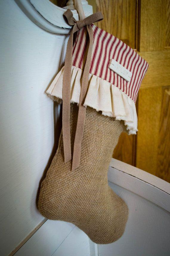 Ruffled Burlap Christmas Stocking by JoaniesFavoriteThing on Etsy