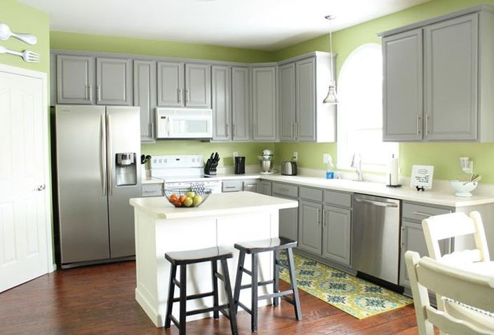 Gray Kitchen Cabinets Green Walls Home Design Ideas Grey