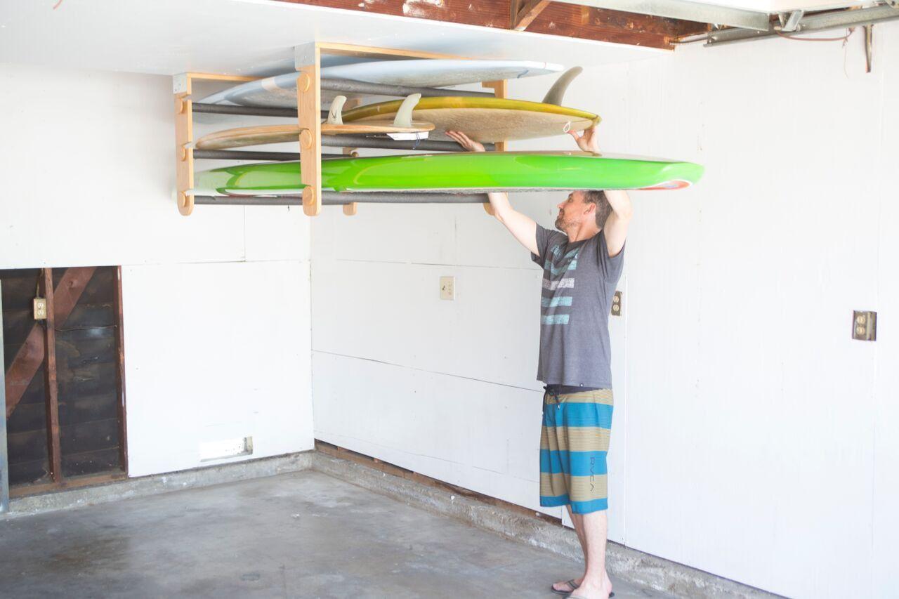 Rolling Rack Ceiling Mount Multiple Boards Kayak Storage Rack