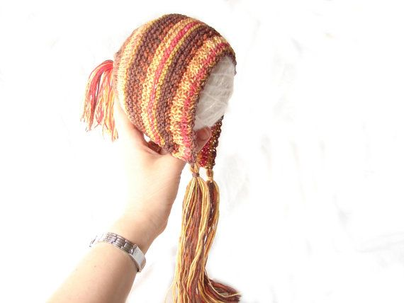 #Brown and yellow #baby #bonnet and #socks, hat with #tassels by TinyOrchids, $30.00