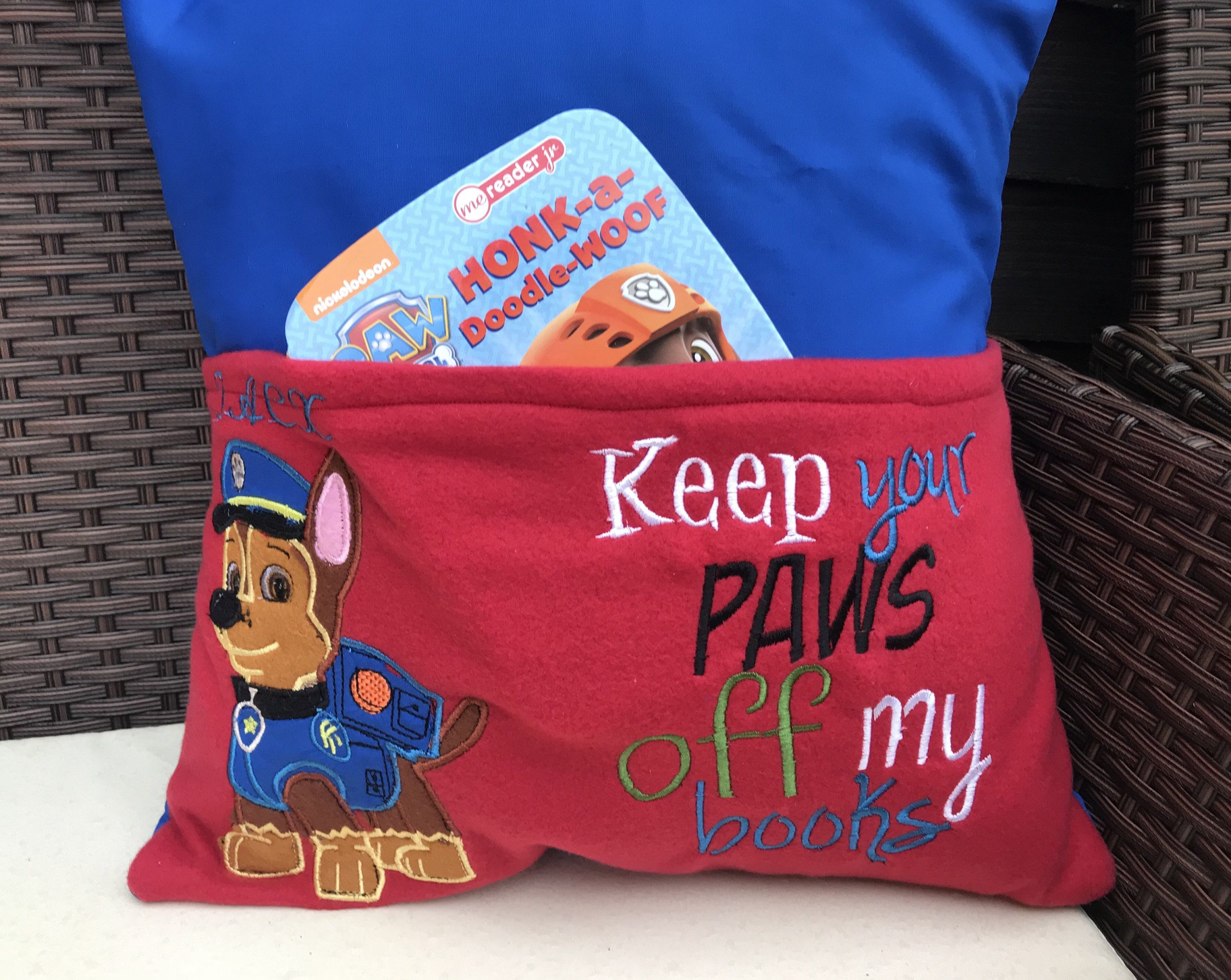 Personalised reading book pillow Paw patrol design, book cushion, gift for children, cartoon, pillow case, Chase - Book pillow, Personalized pillow case diy, Personalized pillow cases, Reading pillow, Kids pillow cases, Personalized pillows - Paw Patrol Chase Reading  book pillow  Personalised with a name, please leave details in the notes section at checkout  'Keep your paws off my books' Includes cover and cushion insert  Measures 16x16 inches