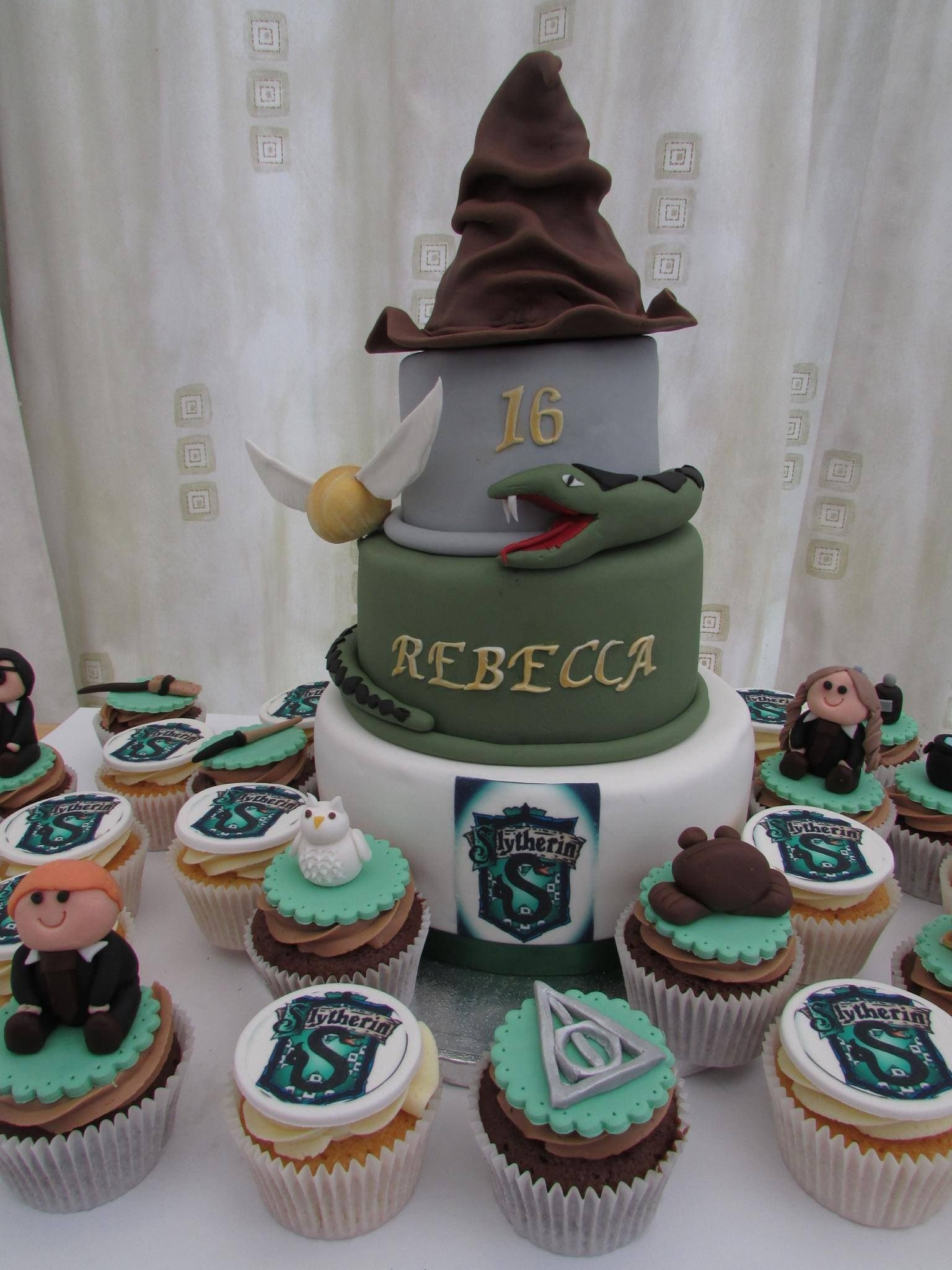 Harry Potter Slytherin Cake And Cupcakes