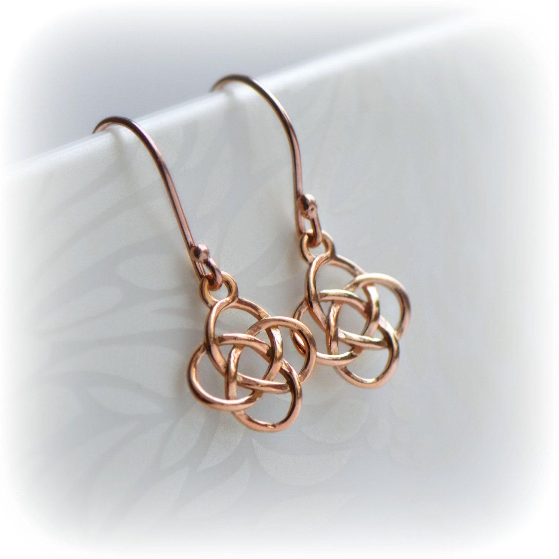 Rose Gold Celtic Earrings, Irish Love Knot Earrings, Rose Gold ...