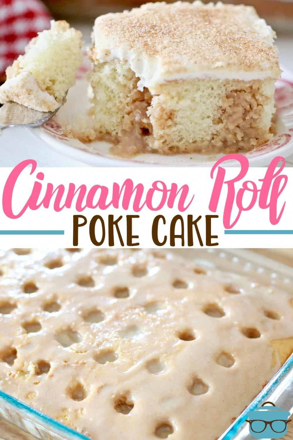Cinnamon Roll Poke Cake starts with a boxed cake mix, topped with a deliciously sweetenend cinnamon filling and topped with homemade cream cheese frosting!