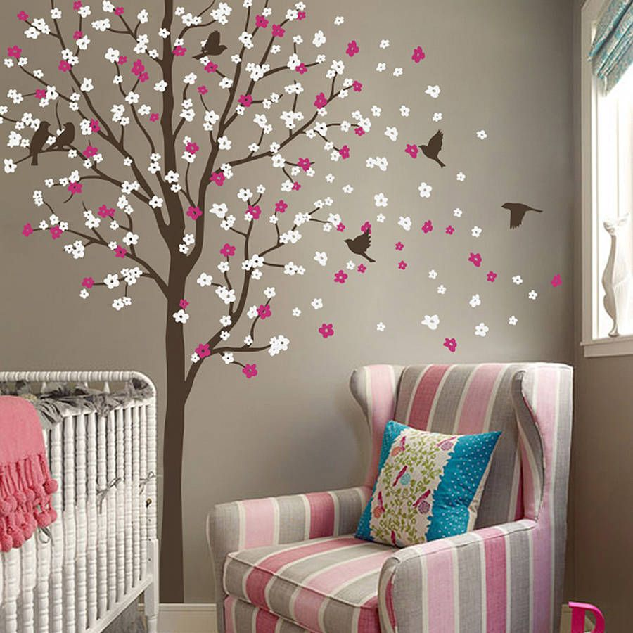 Wind Swept Tree With Birds Wall Sticker Wall Sticker Walls And - Wall stickers for girlspink cherry blossom tree with birds wall stickers girls bedroom