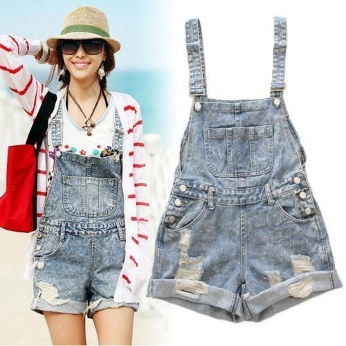 7525a9bb6e0 Womens Distressed Washed Jeans Denim Hole Jumpsuit Romper Crimping Overall  Short featuring polyvore fashion clothing jumpsuits rompers denim romper  blue ...